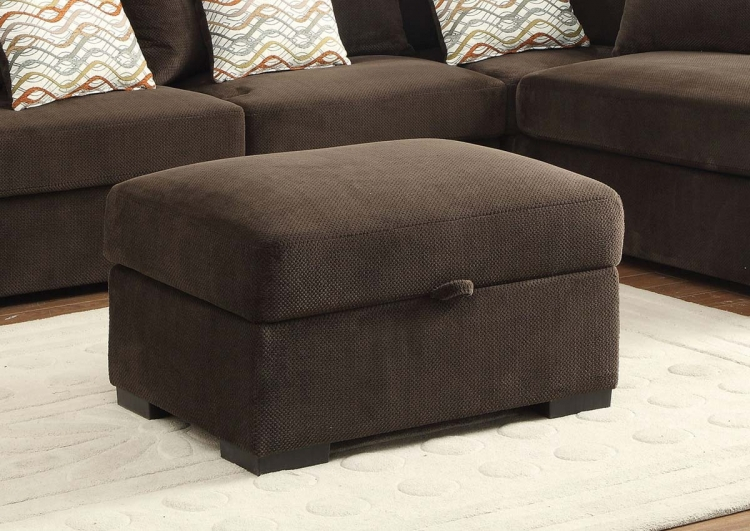 Olson Storage Ottoman - Chocolate