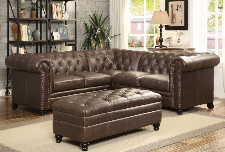 Roy Sectional Sofa Set - Brown