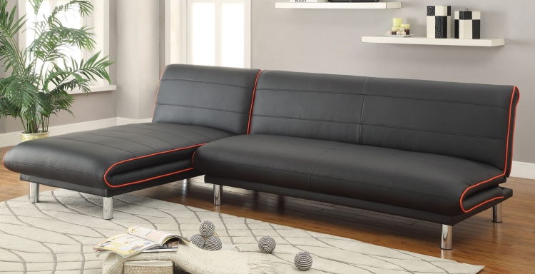 500776 Sofa Chaise Bed - Black/Red