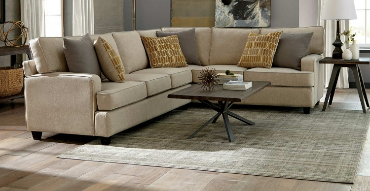 Emmett Sectional Sofa Set - Linen/Espresso