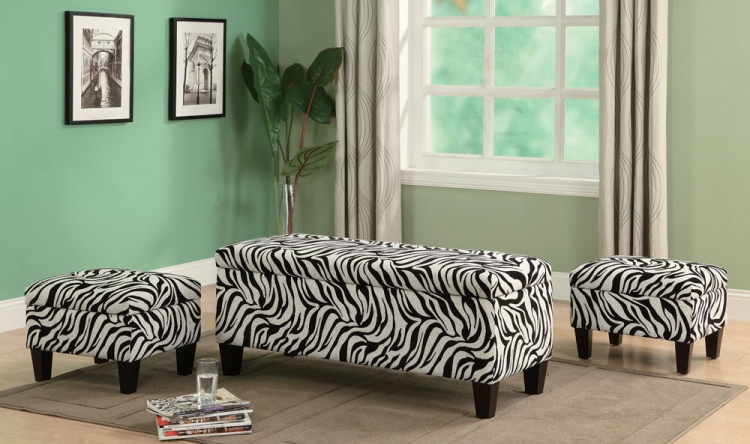 501083 3 Piece Storage Bench and Ottoman Set - Coaster