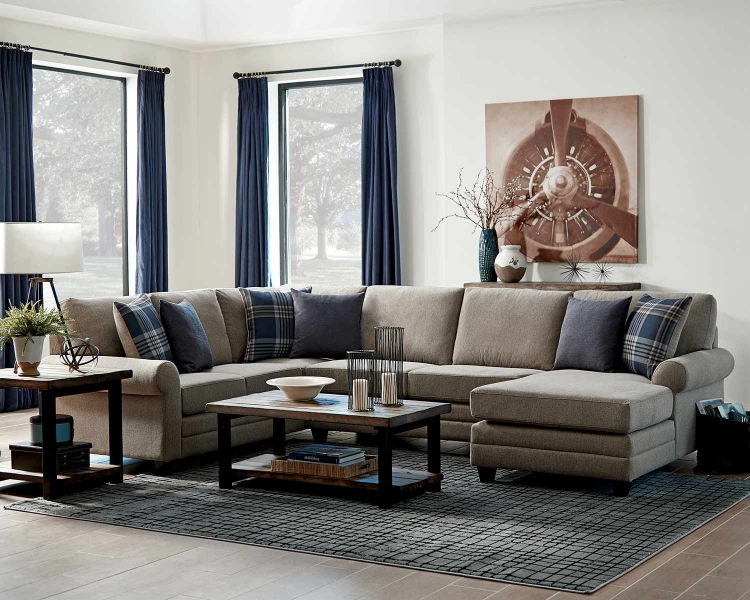 Summerland Sectional Sofa Set - Linen/Espresso