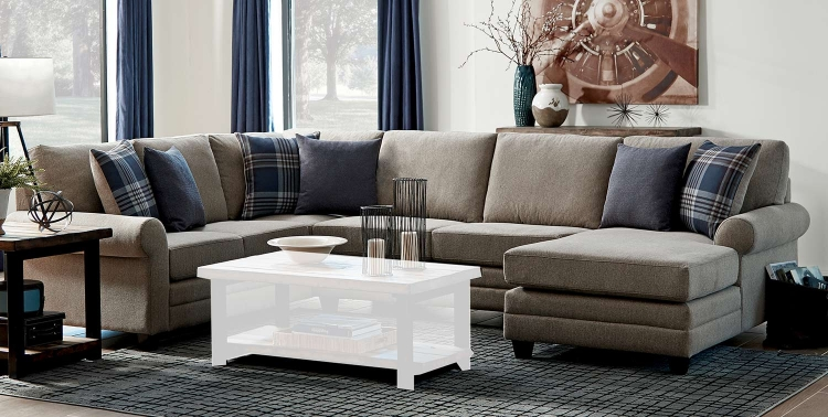 Summerland Sectional Sofa - Linen/Espresso