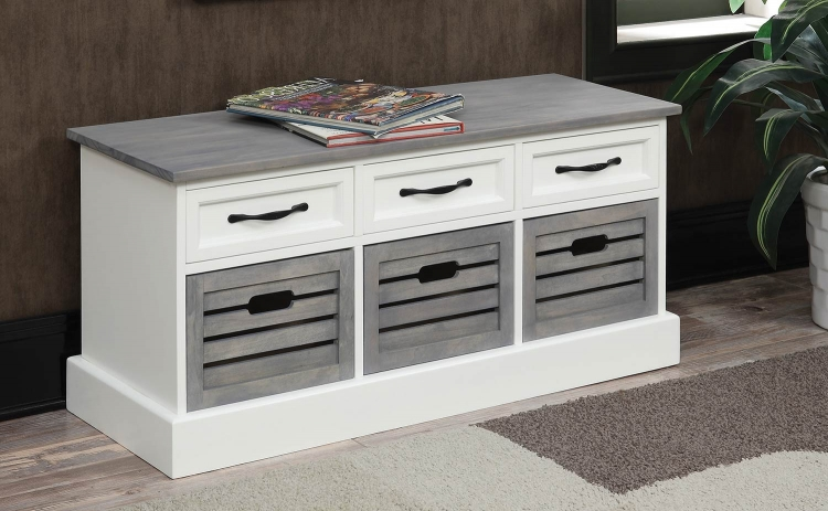 501196 Storage Bench - Grey/White
