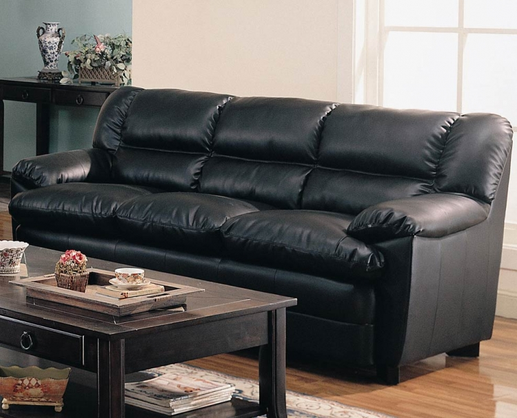 Harper Overstuffed Sofa - Black - Coaster