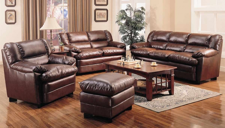 Harper Overstuffed Living Room Set - Brown - Coaster