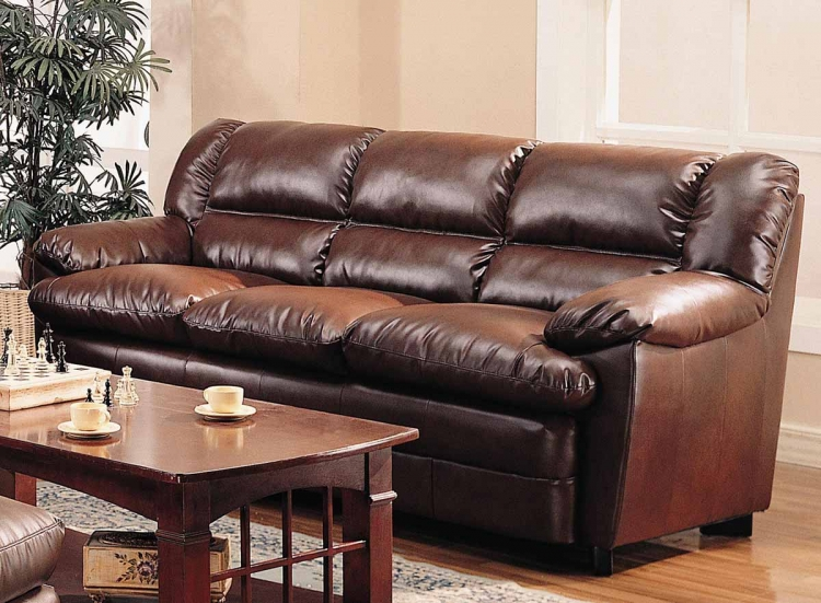 Harper Overstuffed Sofa - Brown - Coaster