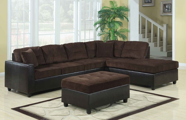 Henri Reversible Sectional Sofa Set - Chocolate/Black