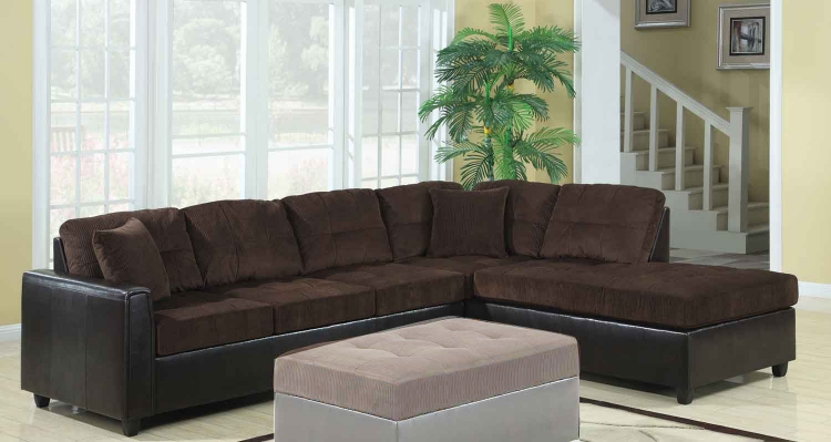 Henri Reversible Sectional - Chocolate/Black