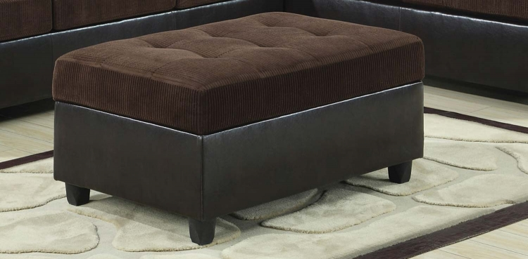 Henri Storage Ottoman - Chocolate/Black - Coaster