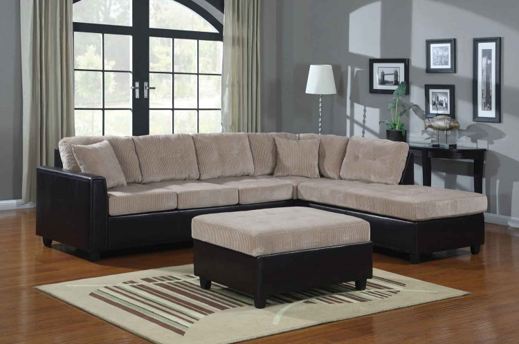 Henri Reversible Sectional Sofa Set - Beige/Black