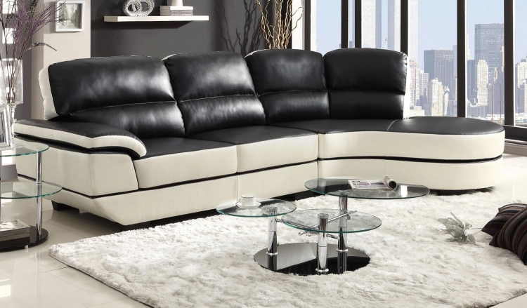 Reese Sectional Sofa - Black/White