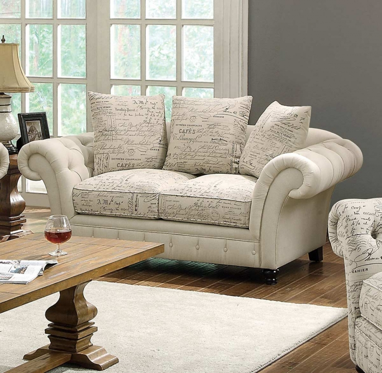 Willow Love Seat - Plain/Printed Oatmeal