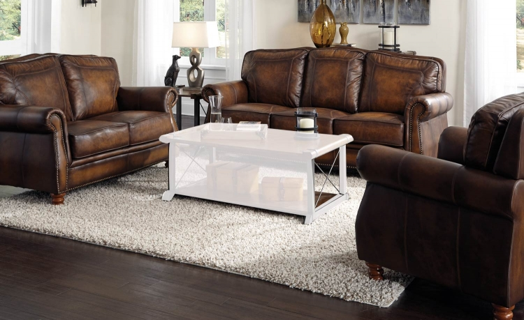 Montbrook Sofa Set - Hand Rubbed Brown