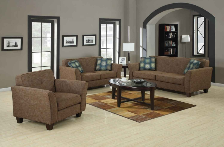 Lilian Living Room Set - Blue/Brown - Coaster