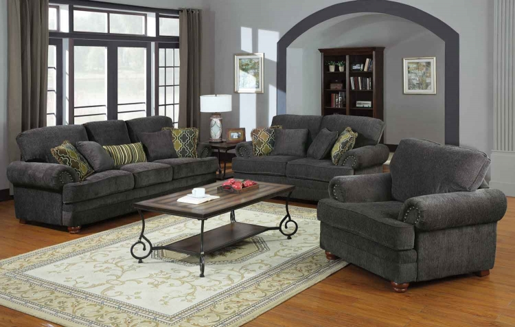 Colton Living Room Set - Smokey Grey - Coaster