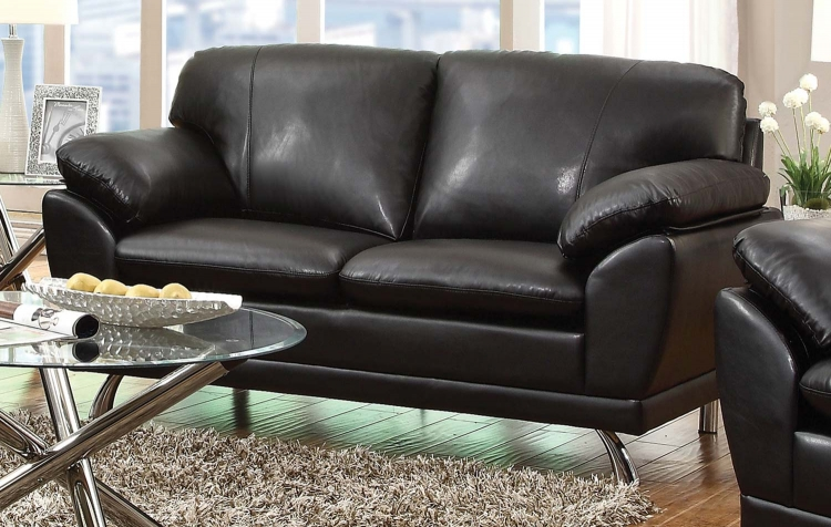 Robyn Love Seat - Black - Chrome