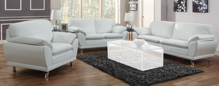 Robyn Sofa Set - White - Chrome