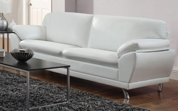 Robyn Sofa - White - Chrome