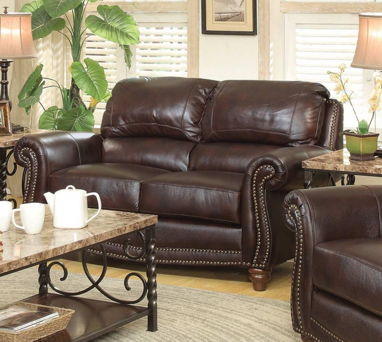 Lockhart Love Seat - Burgundy Brown