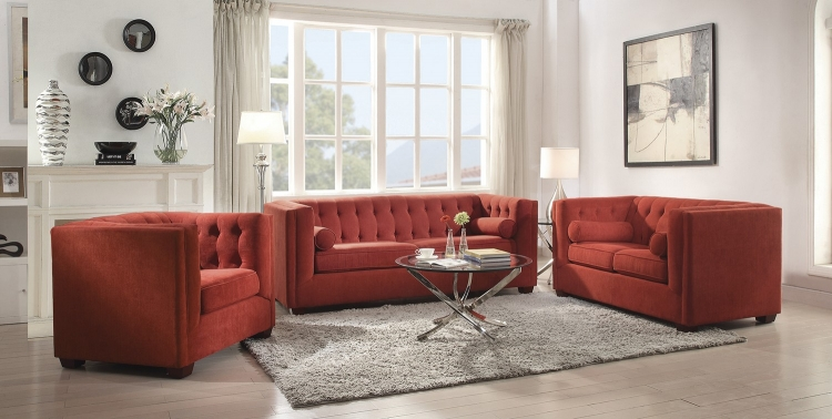Cairns Sofa Set - Crimson