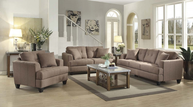 Samuel Sofa Set - Light Mocha
