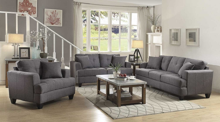 Samuel Sofa Set - Charcoal