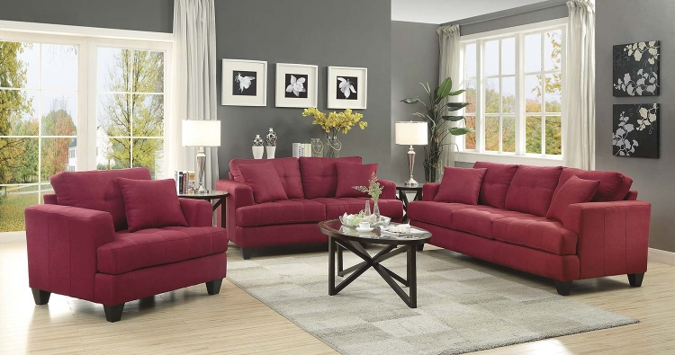 Samuel Sofa Set - Crimson