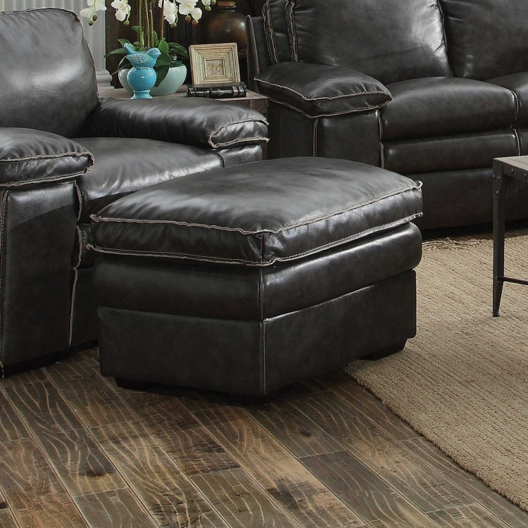 Regalvale Ottoman - Two-tone Charcoal