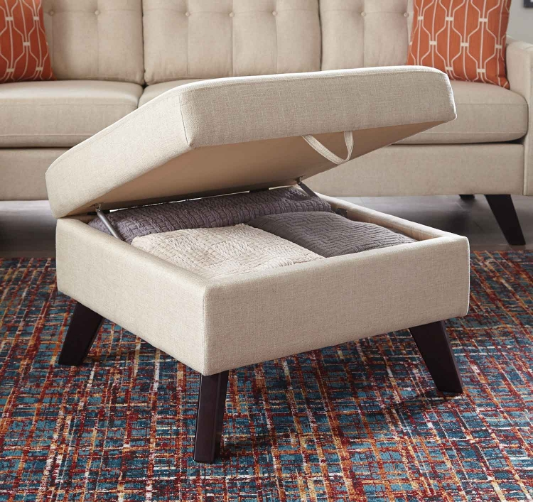 Montana Storage Ottoman - Linen/Dark Brown