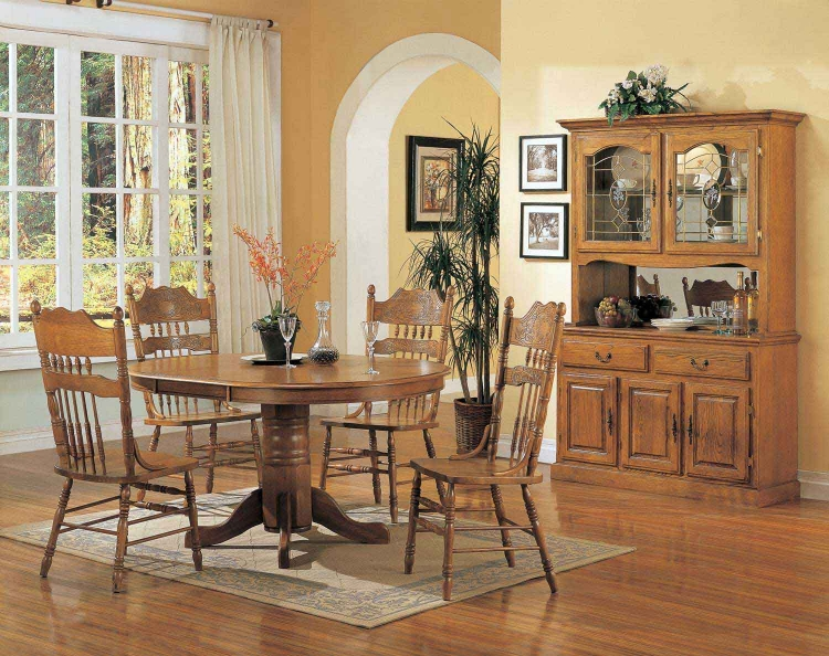 Mackinaw 5264N Oval Dining Set B - Warm Oak - Coaster