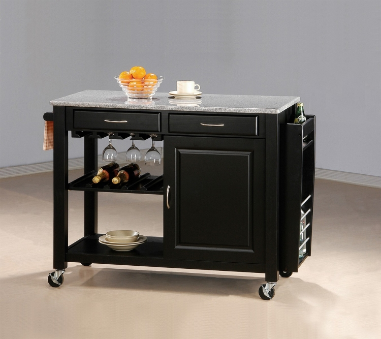 5870 Kitchen Cart - Black/Granite Top