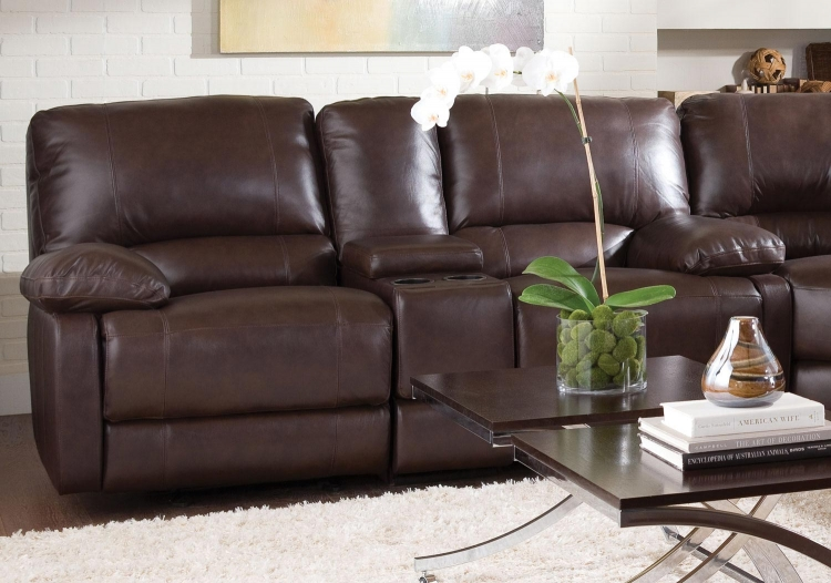 Geri Double Reclining Gliding Love Seat With Console - Brown
