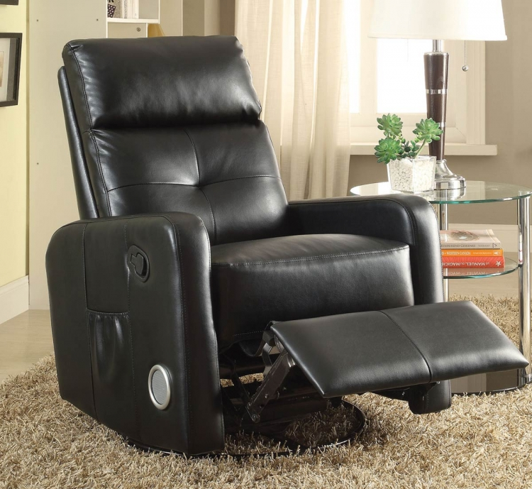 600054 Swivel Glider Recliner - Black