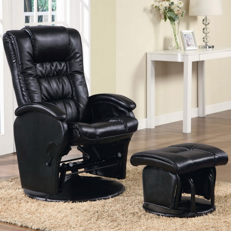 600154 Glider and Ottoman - Black - Coaster