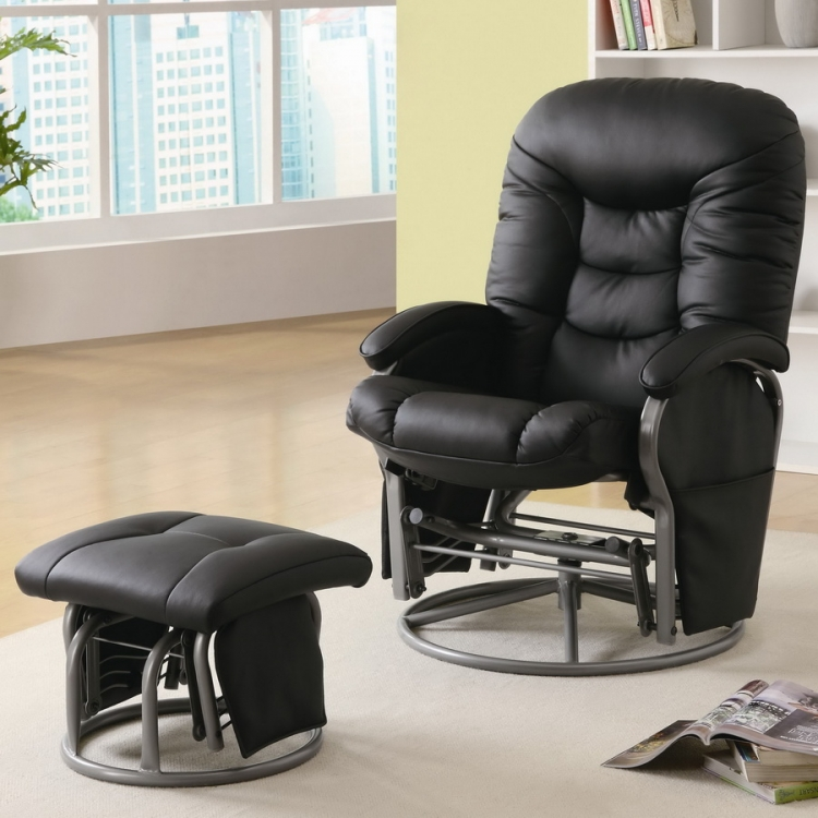 600227 Glider and Ottoman - Black - Coaster