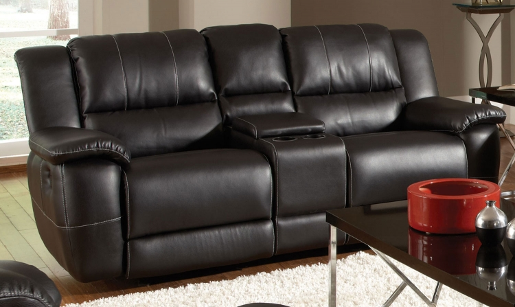 Lee Double Reclining Gliding Love Seat With Console - Black