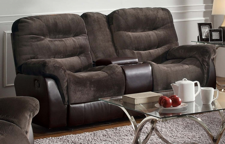 Elaina Double Reclining Gliding Love Seat With Console - Chocolate