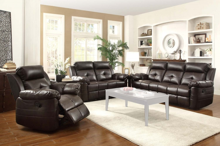 Keating Motion Sofa Set- Dark Brown