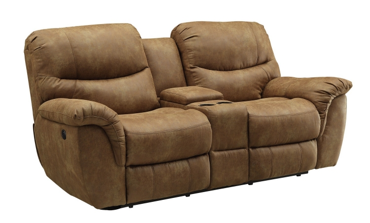 Hancox Power Reclining Love Seat - Light Brown
