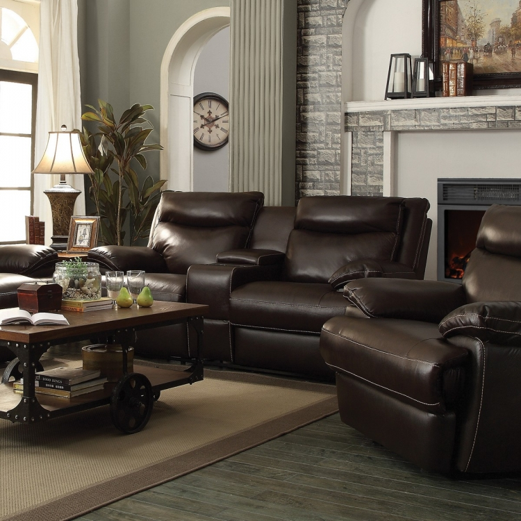 MacPherson Power Reclining Love Seat - Cocoa Bean