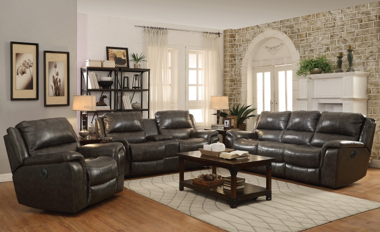 Wingfield Power Reclining Sofa Set - Two Tone Charcoal