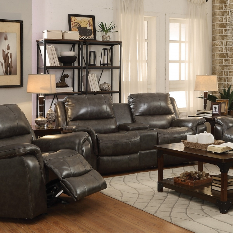 Wingfield Power Reclining Love Seat - Two Tone Charcoal