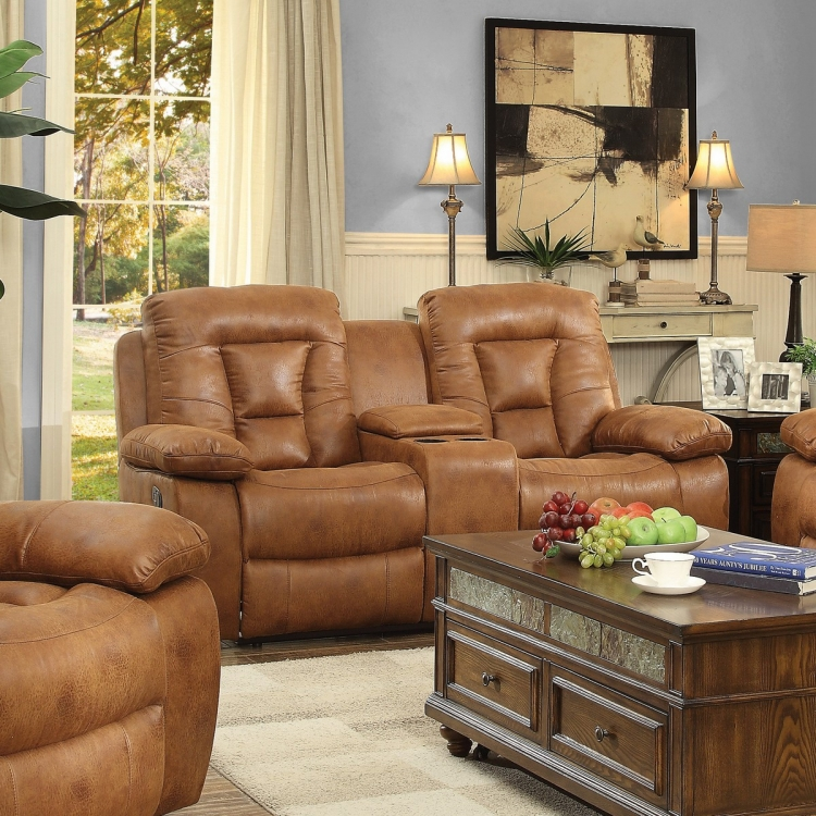 Evensky Power Reclining Love Seat - Saddle