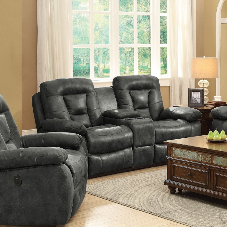 Evensky Power Reclining Love Seat - Charcoal