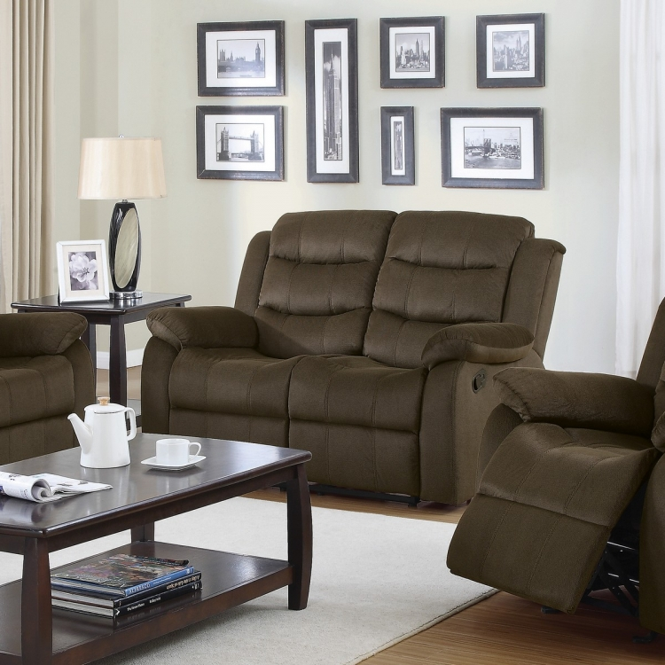 Rodman Reclining Love Seat - Two-tone Chocolate