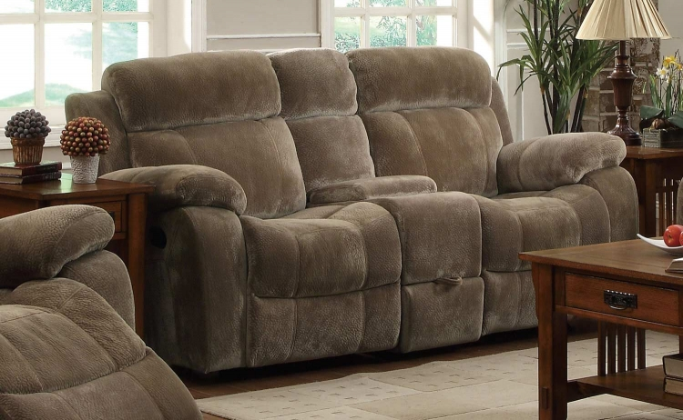 Myleene Double Reclining Gliding Love Seat With Console - Brown