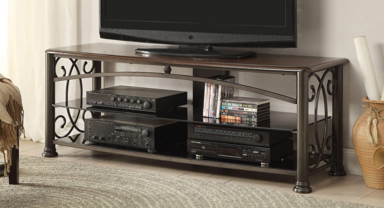 700160 TV Stand - Red Brown/Brown Metal