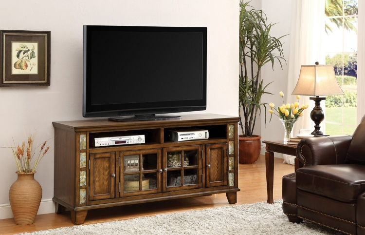 700195 TV Console - Honey Brown