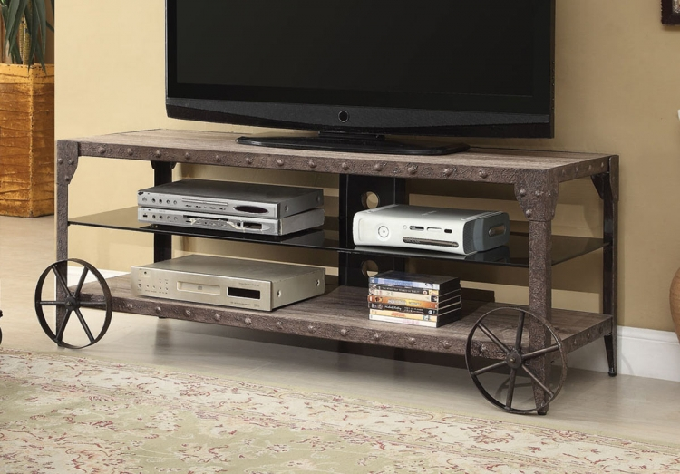 700216 TV Stand - Weathered Brown/Antique Brown Patina